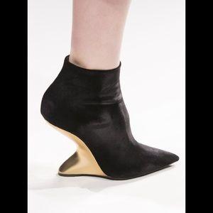Salvatore Ferragamo Bolgheri Velvet Ankle Booties